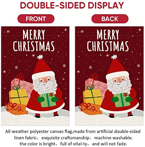 UPINLOOK Santa Claus Garden Flag Vertical Double Sided, Burlap Winter Holiday Christmas Yard Flag Winter Snowflake with Xmas Gift Farmhouse Outdoor Decoration 12.5 x 18 Inch
