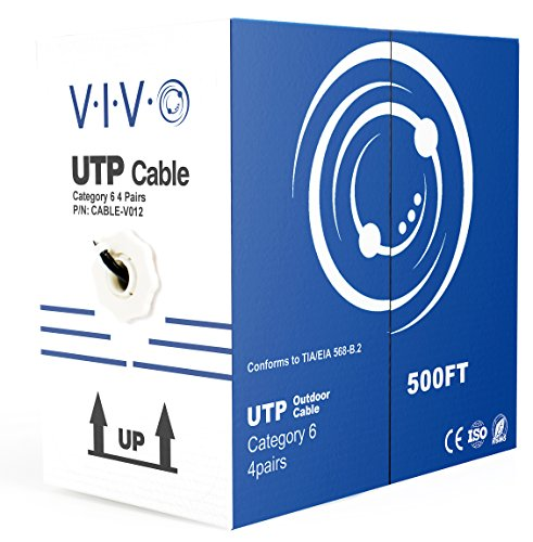 (VIVO Black 500ft Bulk Cat6, CCA Ethernet Cable, 23 AWG, UTP Pull Box | Cat-6 Wire, Waterproof, Outdoor, Direct Burial (CABLE-V012))