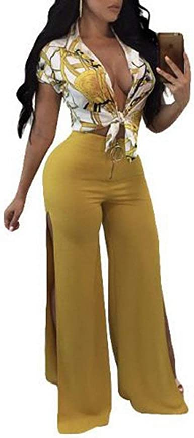 Mujer Set Crop Pantalon Y Verano Top Fashion Elegantes Vintage Ropa De Fiesta Casual 2 Juegos Manga Corta V Cuello Florales Sin Barriga Camisas Cintura Alta Pierna Ancha Pantalones Amazon Es Ropa Y Accesorios