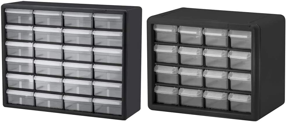 Akro-Mils 24 Drawer 10124, Plastic Parts Storage Hardware and Craft Cabinet, Black (1-Pack) & 16 Drawer 10116, Plastic Parts Storage Hardware and Craft Cabinet, Black (1-Pack)
