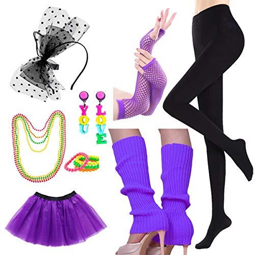 Halloween Dance Recital Songs (Women's 80's Costume Outfit Neon Accessories Set, Cosplay Dance Yoga Party)