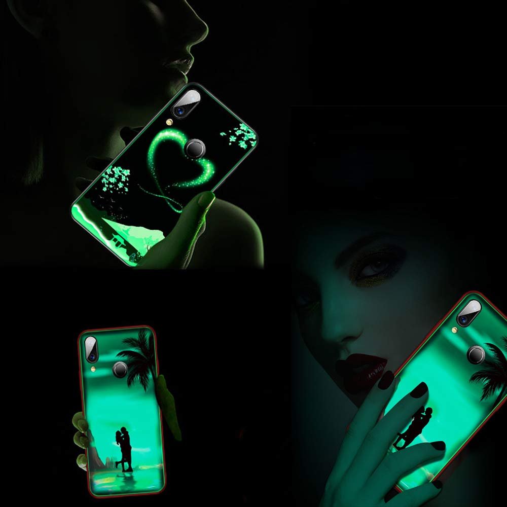 Luminosa Silicona Funda para iPhone XR Funda iPhone XR Carcasa con Dibujos Dise/ño TPU y PC Trasera Cristal Proteccion Antigolpes Noctilucent Case Fluorescente Caja Oceano Azul