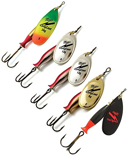 Fishing Spinners Set of 5, Best selections from Mepps - Best Lures for Bass, Trout, Salmon, Crappie and Musky Fishing (#5, 2XS/G/FT/BK) (Best Lures For Trout And Salmon)