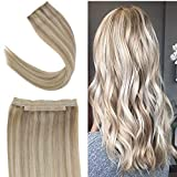 Youngsee 16inch Remy Human Hair Halo Extensions Dark Ash Brown with Golden Blonde Hair Extensions Halo Flip Silk Straight Real Hair 80gram/set