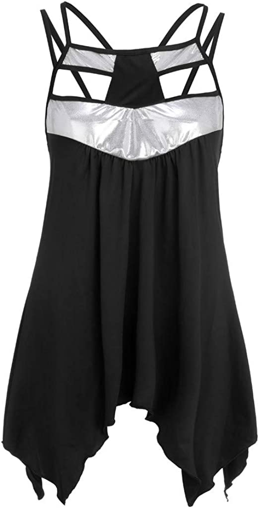 DFHYAR Womens Casual Short Sleeve Sequin Irregular Hem Chic Flowy Tops Tank