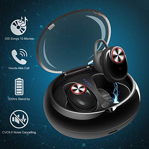 Mini Wireless Bluetooth Earbuds Invisible Noise Cancelling Headphone in-Ear Business Earphone Stereo Sports Car Headset Mic Smallest Earpiece Magnetic Charger Case iOS Android Cell Phone by Ncknciz