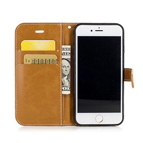 Apple iPhone 7 / iphone 8 Funda Verde, MEETER Libro PU Cuero Case Con Flip case cover, Cierre Magnético, Función de Soporte, Tarjeta y efectivo titular, Billetera con Tapa para Apple iPhone 7 / iphone marrón