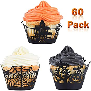 Fashionclubs Halloween Party Spiderweb Laser Cut Paper Cupcake Wrappers Wraps Liners Pack of 24,Black