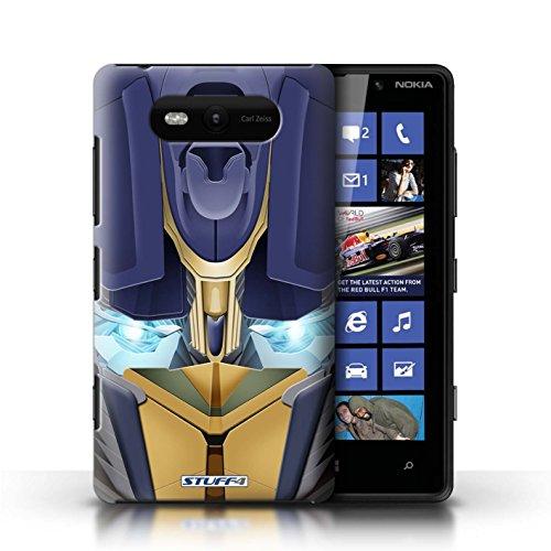 Etui / Coque pour Nokia Lumia 820 / Opta-Bot Jaune conception / Collection de Robots