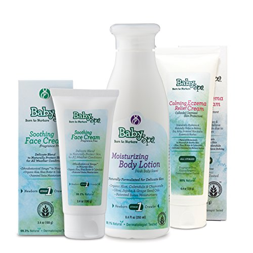 BabySpa Skin Therapy Bundle- Stage 1- Newborn - Bundle includes: Moisturizing Body Lotion ( 8.4 oz.) , Soothing Face Cream ( 3.4 oz.), Calming Eczema Relief Cream (Calming Everyday Lotion Face)