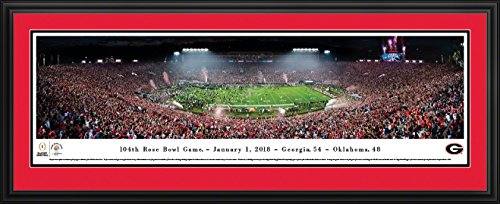 Georgia Bulldogs - Rose Bowl 2018 Champions - 44x18-inch Double Mat, Deluxe Framed Picture by Blakeway Panoramas