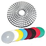 4 inch Dry Wet Diamond polishing pads - For Granite Concrete Travertine Marble Polishing 7 Pcs Set