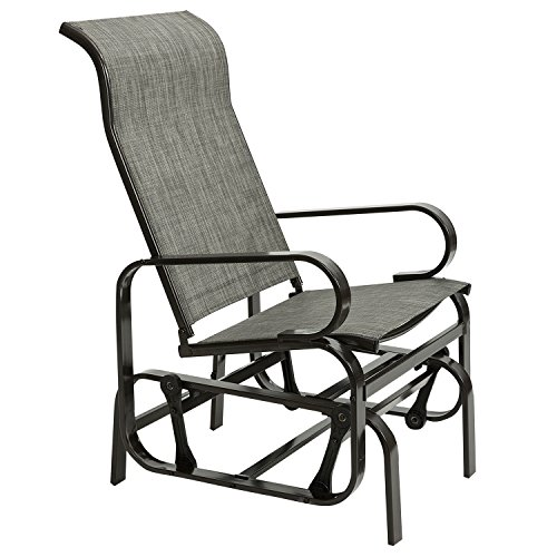 Marble Field Patio Sling Rocker Chair, Outdoor Glider Rocking Lounge Chair, All Weatherproof, Grey ()