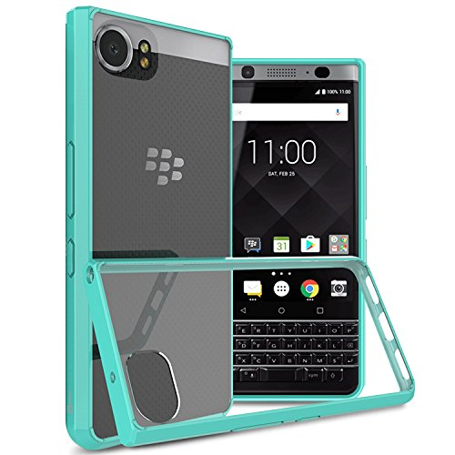 BlackBerry KEYone Case, CoverON [ClearGuard Series] Hard Clear Back Cover with Flexible TPU Bumpers Slim Fit Phone Cover Case for BlackBerry KEYone - Teal / Clear