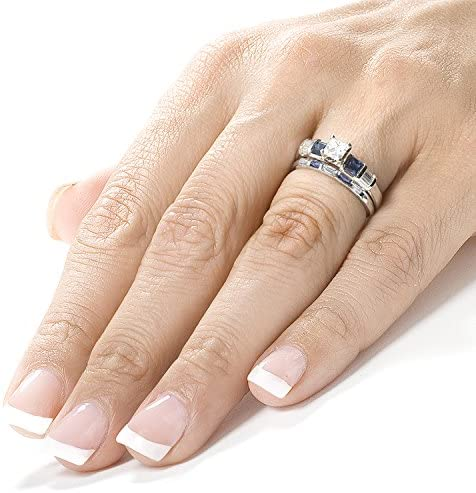 Kobelli Blue Sapphire & Diamond Wedding Rings Set 1 Carat (ctw) In 14k White Gold