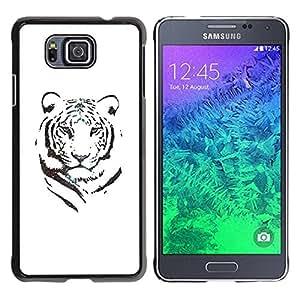 Cubierta protectora del caso de Shell Plástico || Samsung GALAXY ALPHA G850 || Tiger White Black Ink Minimalist Africa @XPTECH