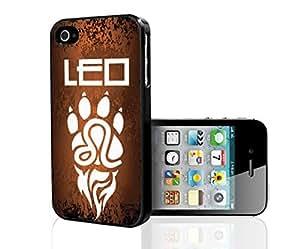 Orange and Black Leo Horoscope with White Paw Hard Snap on Phone Case (iPhone 4/4s)