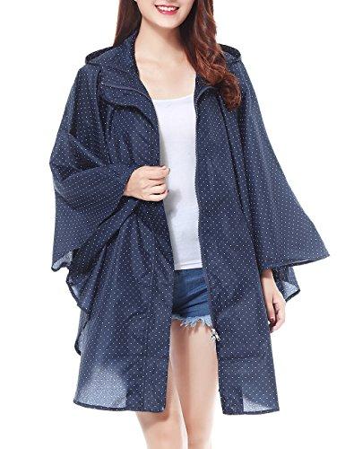 Jacket Fancy Womens (LOHASCASA Rain Poncho Unisex Reusable Waterproof Raincoat Polka Dot Navy Blue)