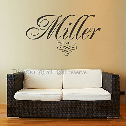 "Family Name Wall Decal - Family Decor Established Year - Custom Personalized Family Wall Decal - Last Name Wall Decal (12.5""h x 22""w PLUS FREE WELCOME DOOR DECAL)"