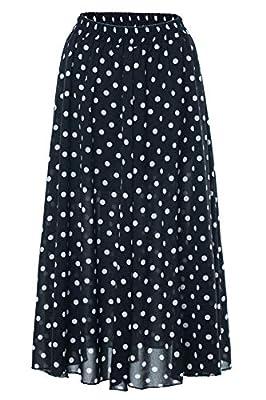 Amormio Women's Cute Polka Dot Printed Chiffon A-Line Swing Boho Long Maxi Pleated Skirts