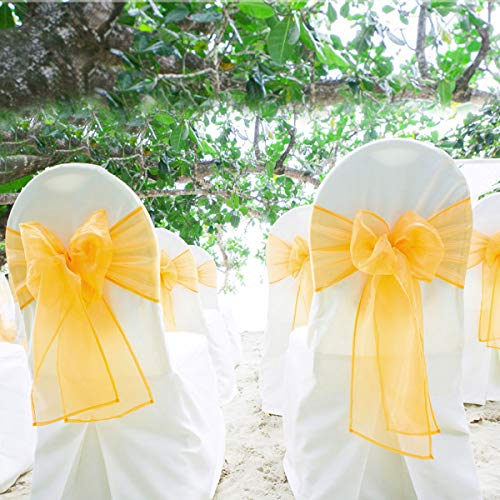 BIT.FLY 100 Pcs Organza Chair Sashes for Wedding Banquet Party Decoration Chair Bows Ties Chair Cover Bands Event Supplies - Orange ()