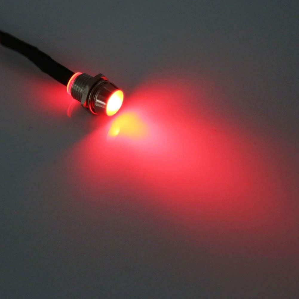 4 Pcs 12v 8mm Delaman LED Panel Pilot Dash Warning Light Indicator Lamp Car Van Boat Color : Red LED Warning Light