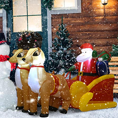 Tangkula 7 Ft Christmas Inflatable Santa Claus with Double Deer, Self Inflating Electric Blow Up Lighted Interior with Fan and Anchor Ropes, Indoor Outdoor Garden Yard Family Prop Decoration