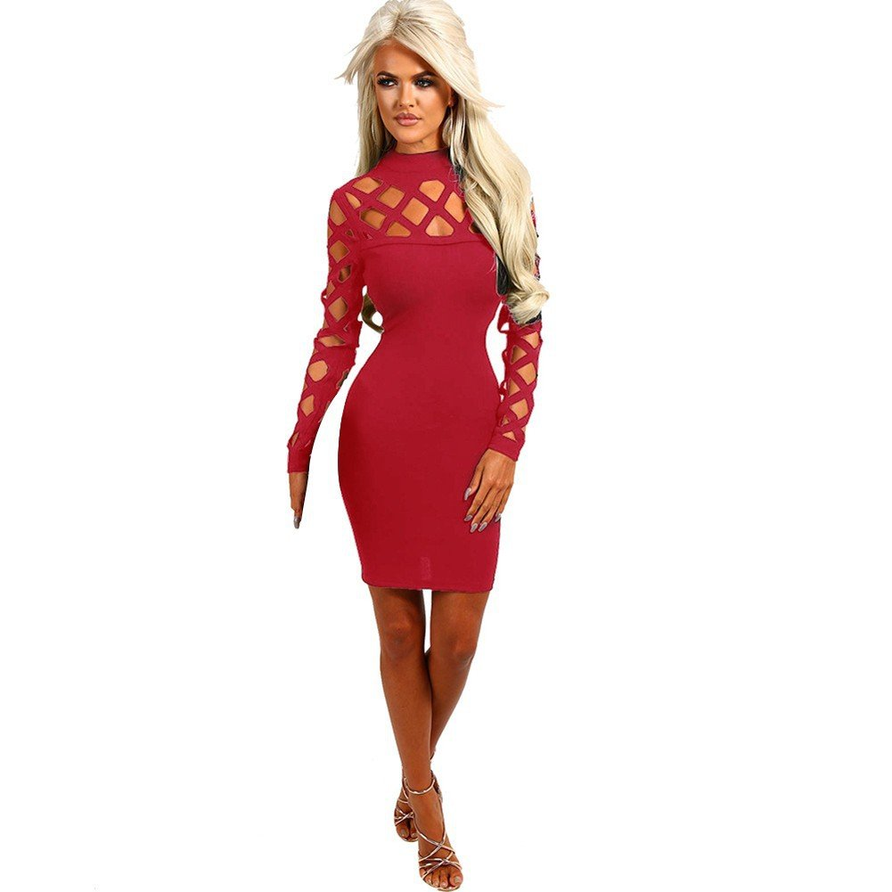 e85ced1b2ab6 Amazon.com  Daxin Women Slim Cocktail Bodycon Dress Hollow Out Club Bandage  Mini Dress Wine Red S  Clothing
