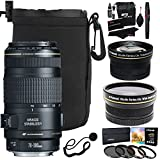Canon 70-300 f/4-5.6 IS USM Lens for Canon EOS SLR Camera + Polaroid Studio Series .43x HD Wide Angle & 2.2X Telephoto Lens + Polaroid Filter Set + Case + Ritz Gear Cleaning Kit + Lens Cap Bundle