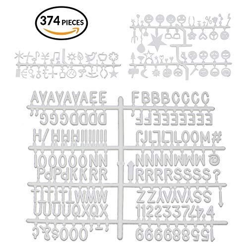 er Set for Letter Board- 3/4 inch Plastic Letter Set for Felt Board- White Replacement Letters- Numbers, Symbols and 70 Emoticons Included ()