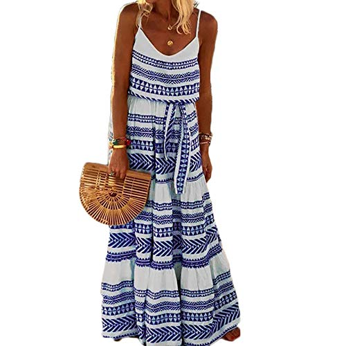 - MMIRAG Women Summer Spaghetti Strap Boho Maxi Dress V Neck Printed Casual Long Dress Sundress (Blue, S)