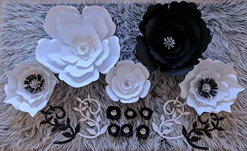 Paper Flowers Combo Set for Backdrops - Black and White - Includes 12 Paper Flowers and 4 Paper Branch Leaves - Fully Assembled - Ready to Use
