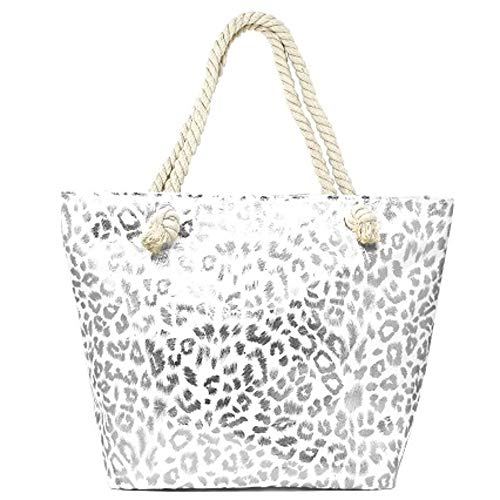 Me Plus Summer Large Beach Tote Bag Zipper Closure Braided Rope Handles Inner Pocket (Metallic Animal Print-Silver)