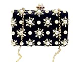 pearl Dinner bag Wedding package Shoulder Bags metal button Messenger bag black