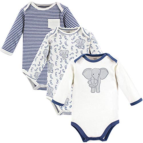 - Touched by Nature Unisex Baby Organic Cotton Bodysuits, Elephant Long-Sleeve 3-Pack, 12-18 Months (18M)