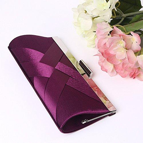 Bolso Mujer bolso de noche elegante tejido Noble de la noche , purple Purple