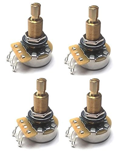 Set of 4 (4X) CTS Custom 450S 500K LONG Split Shaft Audio Taper Potentiometers - 450G