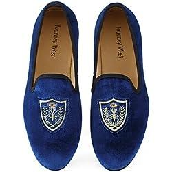 Men's Vintage Velvet Embroidery Noble Loafer Men Shoes Slip-on Loafer Smoking Slipper, Blue, US 11.5