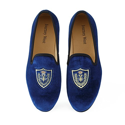 Vintage Blazer Velvet (Men's Vintage Velvet Embroidery Noble Loafer Men Shoes Slip-on Loafer Smoking Slipper US 10)