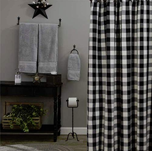 Park Wicklow China Black and Off-White Check Fabric Shower Curtain Designs