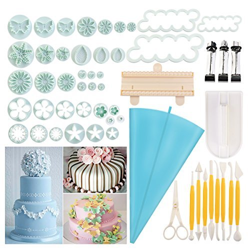 BESTOMZ 18sets/54pcs Cake Decorating Tool Set Plunger Cutters Icing Decorating Flower Modeling Tools