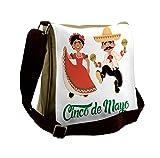 Lunarable Cinco De Mayo Messenger Bag, Dancers Couple, Unisex Cross-body