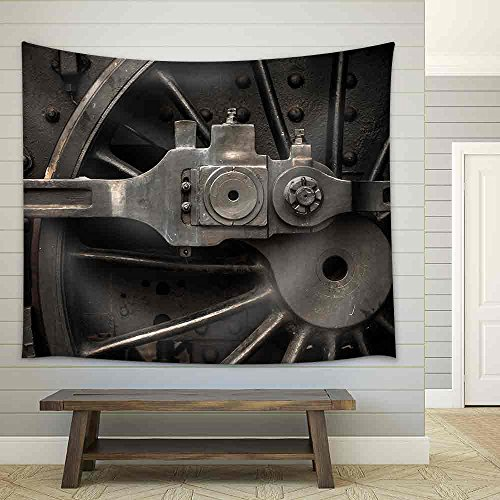 Old Steam Engine Train Wheels and Parts Close Up Fabric Wall Tapestry