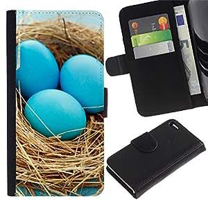 LECELL--Cuero de la tarjeta la carpeta del tirón Smartphone Slots Protección Holder For Apple Iphone 4 / 4S -- Huevos azules Nido --