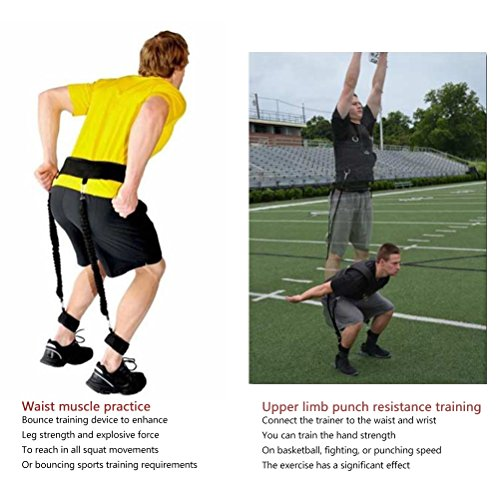 Jump Trainer Resistance Bands Set Odowalker Bounce Trainer Training Device Leg Strength and Speed Agility Training Strap Basketball Taekwondo Kungfu Fitness Exercise Bands Tool Equipment