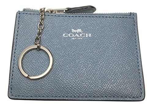 Coach Crossgrain Glitter Leather Mini Skinny ID Wallet Key Pouch Dusk 2