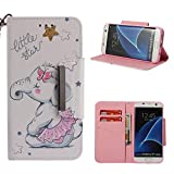 Leather Wallet Case for Samsung Galaxy S7 Edge,Shinyzone Cute Cartoon Animal Elephant Painted Pattern Flip Stand Case,Wristlet & Metal Magnetic Closure Protective Cover