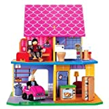 Wooden Dollhouse with 6 Multi-Cultural Dolls, Baby & Kids Zone