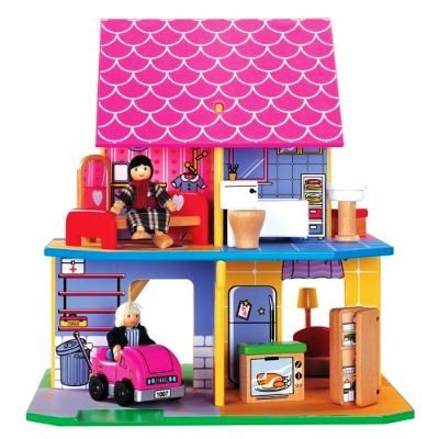 Wooden Folding Dollhouse with 6 Multi-Cultural Dolls