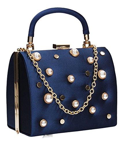 Navy Womens Clutch Vintage SWANKYSWANS Box Satin Bag Pearl Briar Stud Blue 1wzRxanqpA
